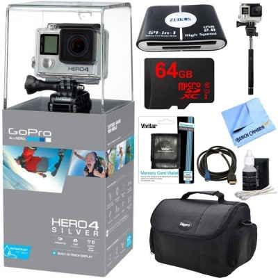 GoPro HERO 4 Silver Action Camera Bundle with 64GB Micro SDXC Memory Card and Accessories